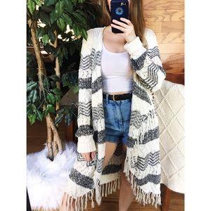 🌿 Boho Fringe Marbled Striped Longline Cardigan